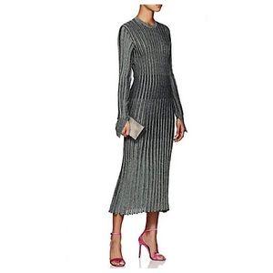 Cedric Charlier Rib Knit Metallic Midi Dress